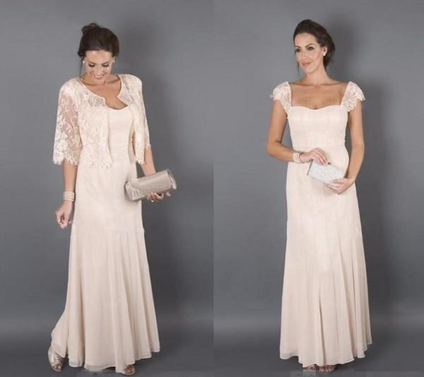 Elegante Champagne Farbe mit Jacken Mutter der Braut Kleider Formelle Patin Frauen tragen Abend Hochzeit Gäste Kleid Plus Größe