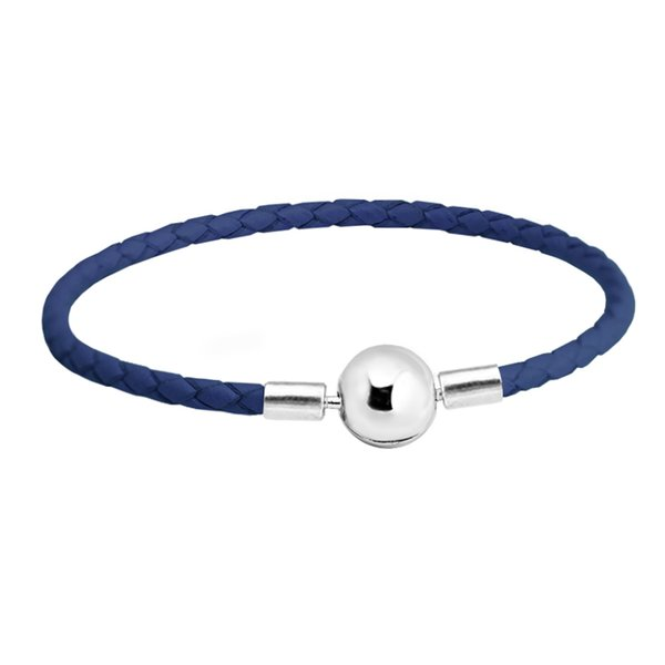 Dark Blue Leather Bracelet 100% 925 Silver Ball Clasp Bracelets Fit Charm Beads Diy for Women Fine Jewelry PLE510
