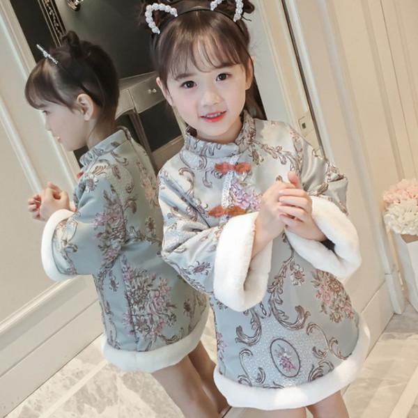 Bébé Filles Hiver Chinois Cheongsam Manteaux Plus Rembourré Épaississement Thermal Down Vestes Filles De Noël Vêtements Vêtements de Dessus