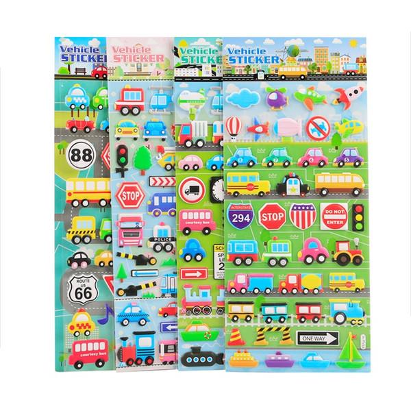 4 pcs Vehicle sticker Cartoon car bus ambulance plane boat post mail van 3D stickers kids gift Decoration Stationery A6003