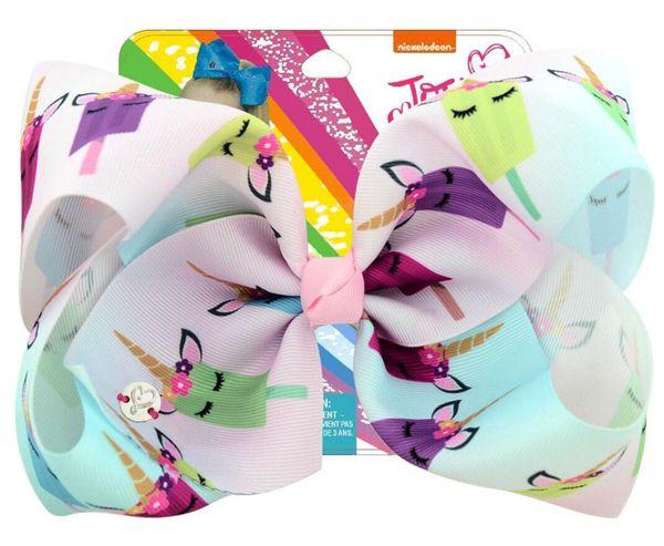 "free shipping 5pcs 8"" Large ombre JoJo Bow With Hair Clip unicorn big hair bows For Girls Kids Handmade rainbow Printed Ribbon Knot Jumbo"