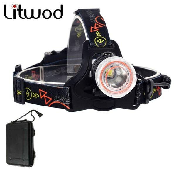 Litwod z307306 Led Headlamp Lantern XM-L2+COB LED 5000LM Head Lamp light Headlight zoom Headlamps with Box For Fishing Hunting