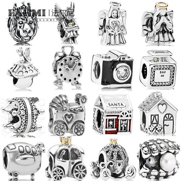 FAHMI 100% 925 Sterling Silver 1:1 Charm Baby Carriage Alarm Clock Royal Carriage Pearl Bottle Bead Santa's House Enamel Angel of Love