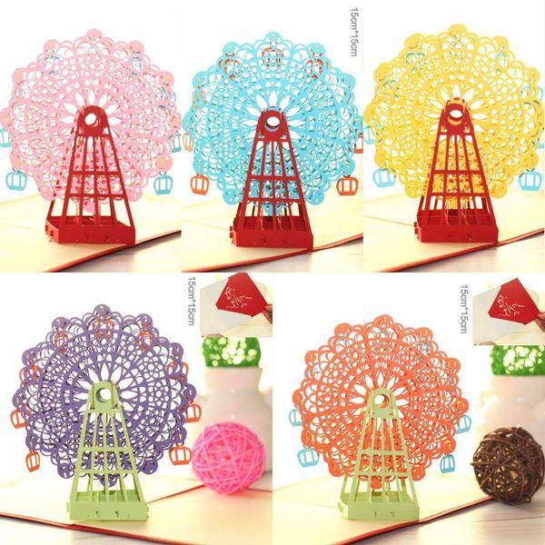Grußkarten Handmade 3D Riesenrad Origami 3D Pop Up Papier Laser Cut Vintage Postkarten Alles Gute zum Geburtstag Geschenke Kraft