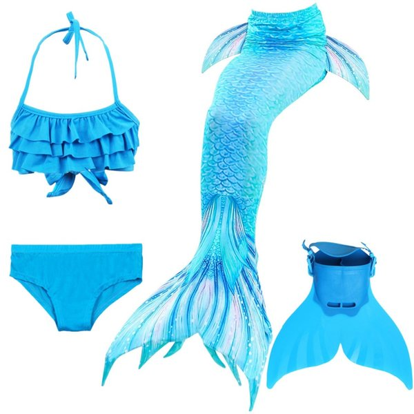 NEW! Kids Children Mermaid Tails for Swimming Mermaid tail with  Girls Costumes Swimmable Swimsuit with Bikini Flipper