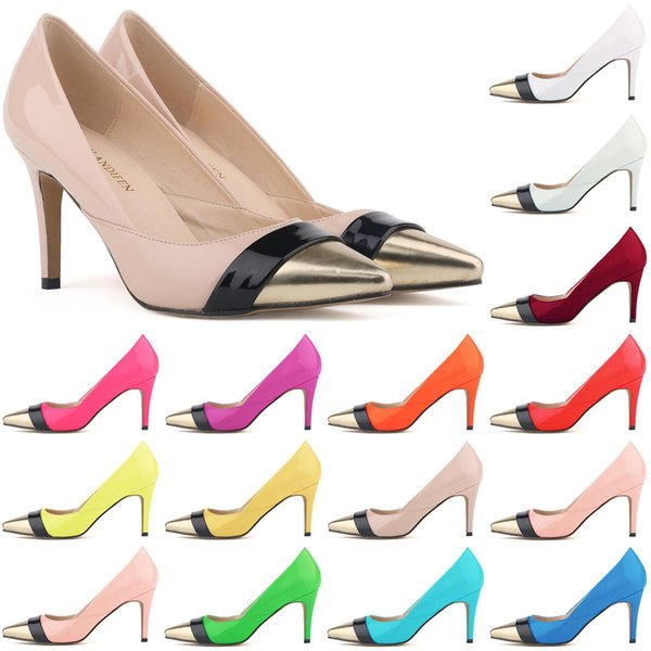 Brand designer-Sapatos Feminino Womens Pointed Toe Patent Pu Leather Heels Corset Style Work Pumps Court Shoes US 4-11 D0070