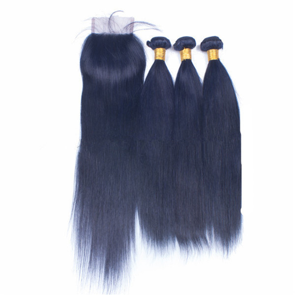 Dunkelblaues farbiges Jungfrau-Haar mit Verschluss 3Bundles mit Spitze-Verschluss Brasilianisches Jungfrau-seidiges gerades Menschenhaar mit freiem Teil-Verschluss