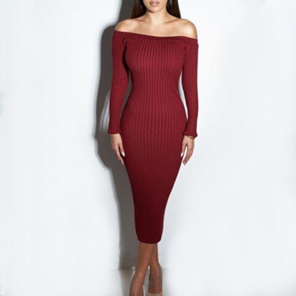 Women's Stretch Knit Dress Slash Neck Strapless Dress Elegant Fishtail Wrap Skirt