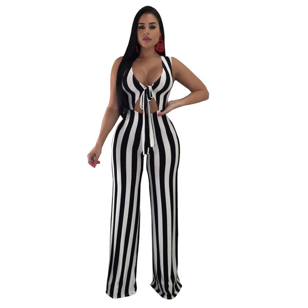 Fashion sexy nightclub wear women jumpsuits romper 2018 new arrival striped sleeveless deep v bow straight full length jumpsuit