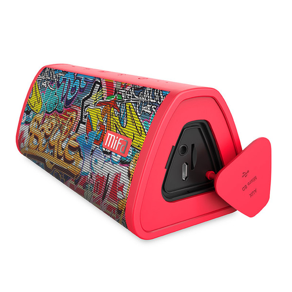 Red-Graffiti Bluetooth Speaker Built-in Microphone Stereo Rock Sound Outdoor 10W Portable Wireless Speaker Support TF card
