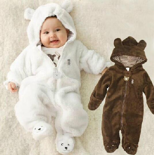 Autumn Winter Baby Rompers Bear style baby coral fleece Hoodies Jumpsuit baby girls boys romper newborn toddle clothing Y18100905