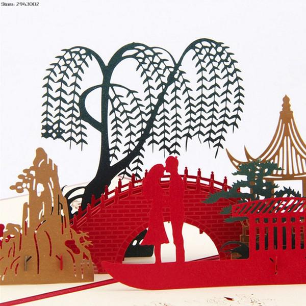 3D pop up papel origami láser corte tarjetas de felicitación creativo amante hecho a mano en puente cumpleaños navidad aniversario tarjetas postales