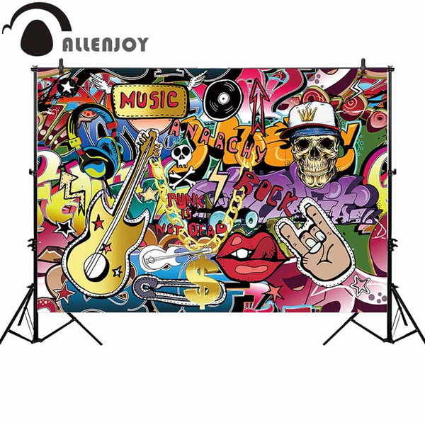 wholesale rock music photography backdrop graffiti guitar party background photocall photoshoot prop custom decor new