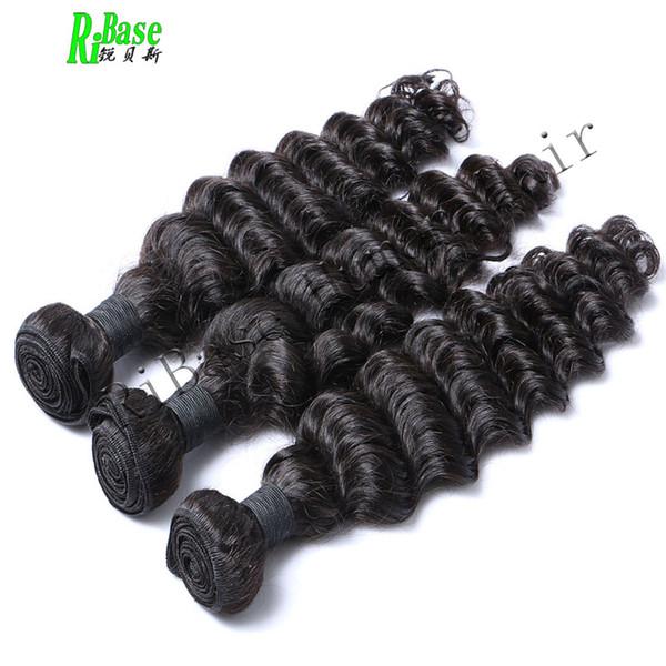 RiBase Onda profonda Tessuto dei capelli umani Bundles Estensione dei capelli Non-Remy Macchina per tessere capelli Double Weft Colore naturale 3Pcs / Lot
