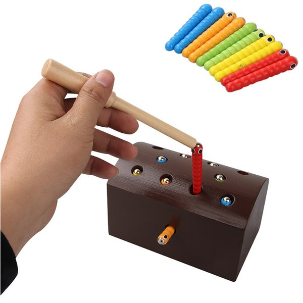 Bloques Catch The Worm Juguetes magnéticos para niños Aprendizaje temprano Juguete educativo Juego de rompecabezas de madera Ladrillos coloridos Juguete para niños P20
