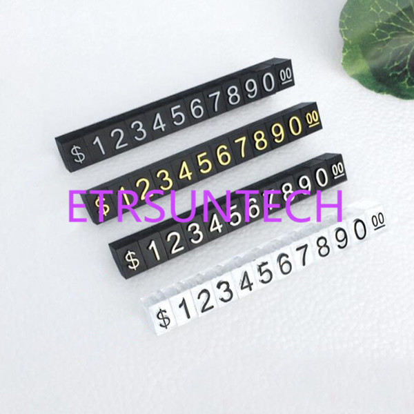 Mini Combined Price Tags Desk Sign Stand HK US Dollar Adjustable Number Pricing Tag Block Jewelry Price Cube QW7967