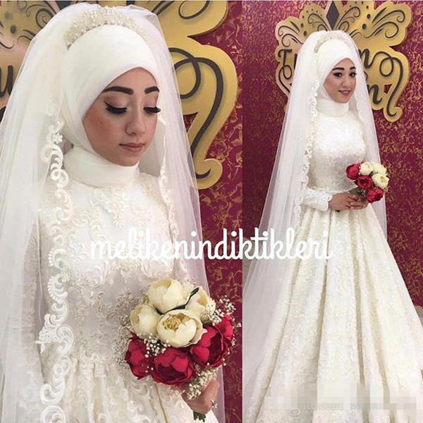 2018 High Neck Lace Appliques Wedding Dresses Appliques Sequins Long Sleeve Zipper Back Muslim Style Bridal Gown Custom Made Hot Sale