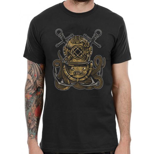 Scuba Diver Helmet Anchor Octopus T-Shirt Graphic Mens Tee Grunge Top Black TF26 Cool Casual pride t shirt