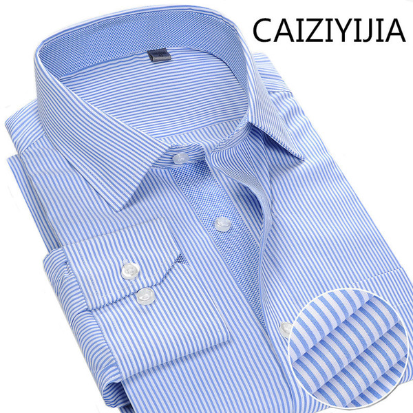 CAIZIYIJIA Autumn/Spring New Mens Brand-clothing Silm fit Long Sleeve Dress Shirt Fashion Thin Stripes Camisa Social Masculina