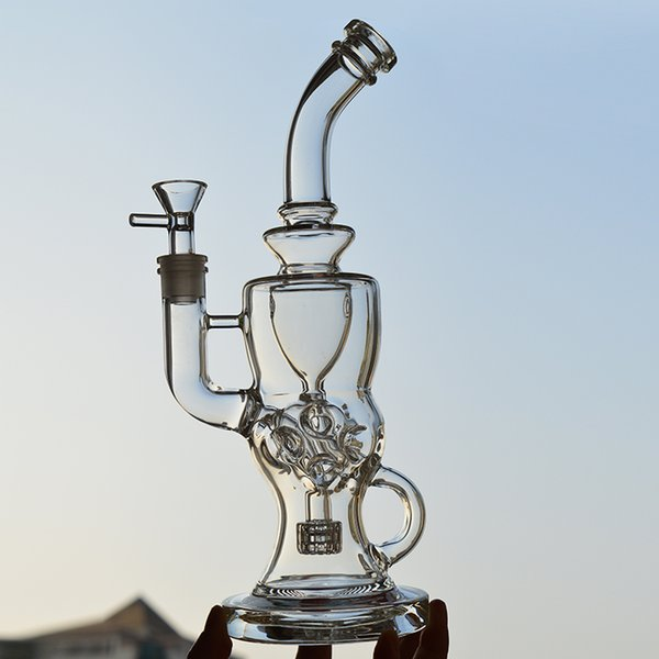 Swiss Ball Glass Bongs Recycler Oil Rig Stereo Matrix Perc Solid Base Bent Neck 5mm Thick Glass Water Pipes 11 inch Vortex Hookahs Dab Rigs