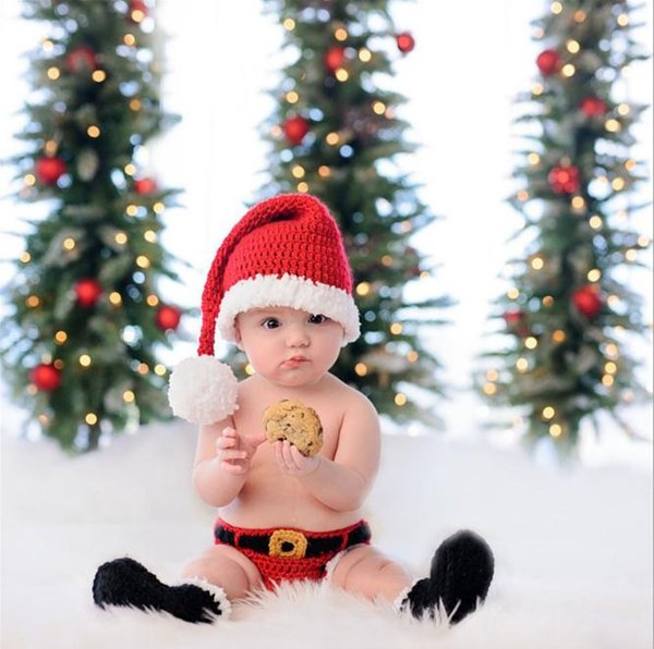 Baby Knitting Long Tail Christmas Hat Newborn Photography Props Santa Claus Crochet Pompon Baby Hats Baby Photo Props