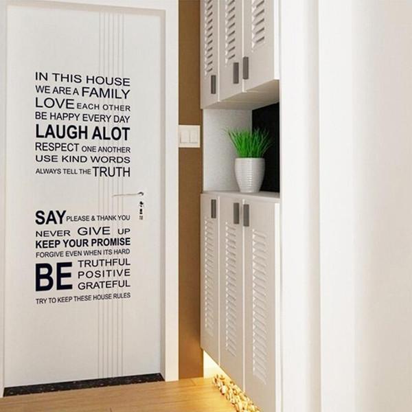 Englische Wörter in diesem Haus DIY Wandaufkleber Schmuck Glas Vinyl Home Wallpaper Decor Pegatinas De Pared für Kinderzimmer Geschenk