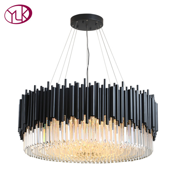 Youlaike modern cry tal chandelier luxury black hanging led lu tre de cri tal living dining room lighting fixture home lamp