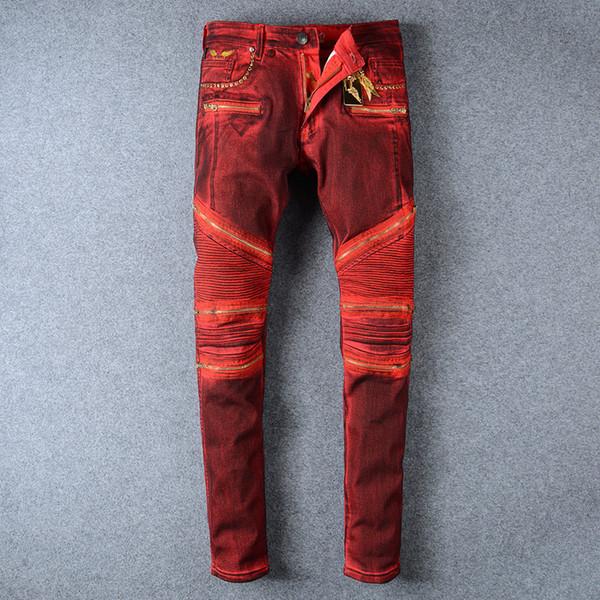 Mens Embellished Ribbed Moto Pants Multi Zippers Red Denim Biker Jeans Slim Trousers Slim Fit Biker Denim Jeans Men Plus Size 42