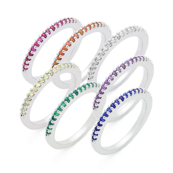 European and American popular color zircon silver ring for cross-boundary use