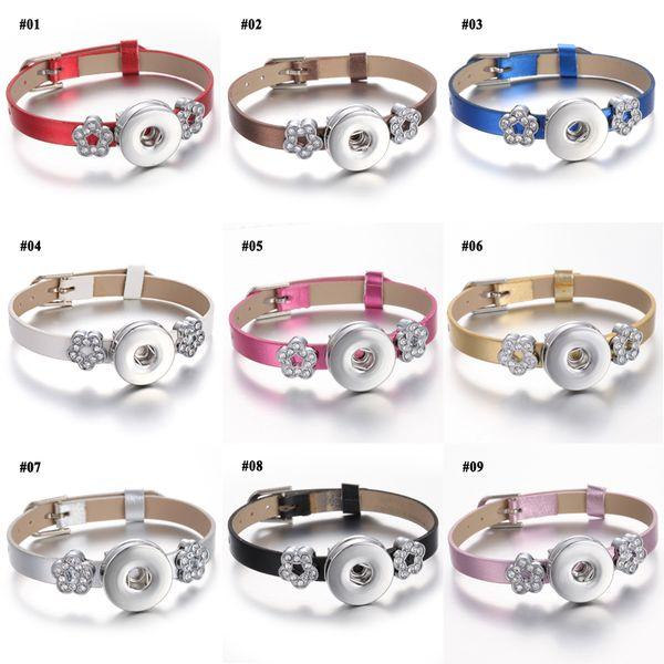 Noosa Snap Bracelet Charms Flowers Shinny Leather Snap Button Bracelet Bangles Noosa Chunks DIY Snaps Jewelry