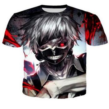 Anime Tokyo Ghoul design Criativo T-shirt Das Mulheres Dos Homens de Verão 3D Dos Desenhos Animados de Manga Curta Em Torno Do Pescoço T Camisa Camiseta de Fitness T5