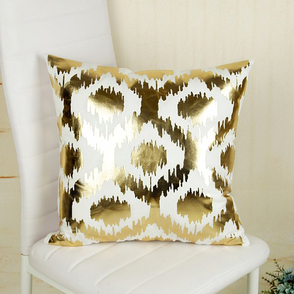 45*45cm 17Styles Gold Printing Pattern Cushion Covers Bedroom Seat Christmas Gifts Home Decor Kitchen Accessories Party Decoration