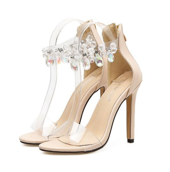709019ddcc Handmade Crystal Wedding Shoes Beige Black Beaded Rhinestone Ankle Strap  High Heels 2018 Women Designer Shoes Size 35 To 40 Loafers For Women Deck  ...