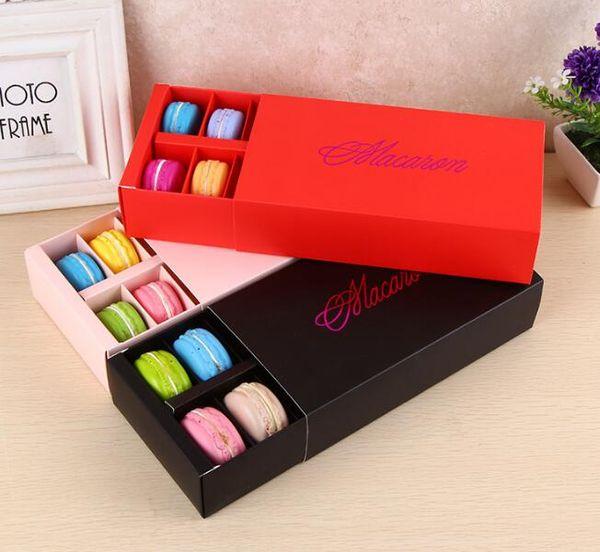 12 tazze di carta Macaron scatola di imballaggio tipo cassetto cassettiera pasticceria torta al cioccolato per regalo della festa nuziale 50 pezzi