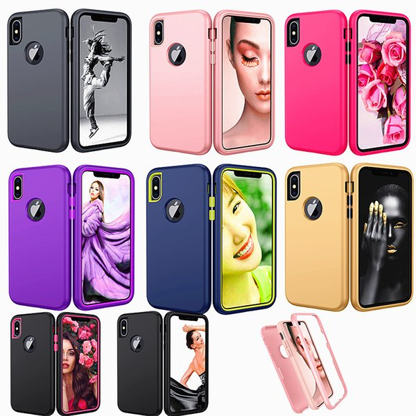 Finition mate 3 en 1 Hybrid Defender Coque pour iPhone XS Max Xr 8 Plus Samsung Galaxy A10E A50 A30 A20 Heavy Duty Protection Armor Cases