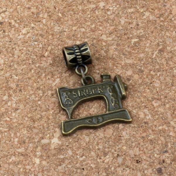 100 pçs / lote Dangle Bronze Antigo máquina de Costura Charme Big Hole Beads Fit Charme Europeu Pulseira Jóias 20x28.5mm A-308a
