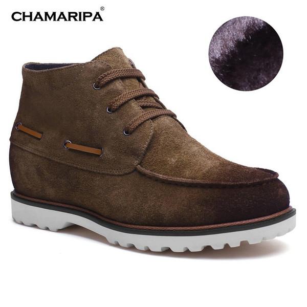 CHAMARIPA Elevatore Scarpa Uomo Desert Boot Aumentare Altezza 7cm / 2.76 pollici Taller Pelle scamosciata Stivali Peluche Fodera Inverno H72B27K032E