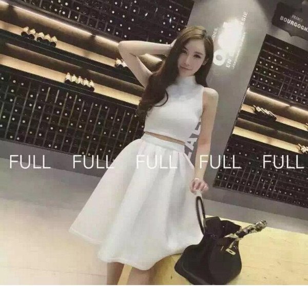 New Design Women S Space Cotton Sleeveless Bodycon Crop Top Vest And High Waist Ball Gown Midi Long Skirt Twinset Dress Suit Canada 2019 From