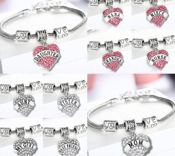1000pcs diamant amour coeur bracelet cristal famille membre maman fille grand-mère croire foi espoir meilleur ami bracelet J089
