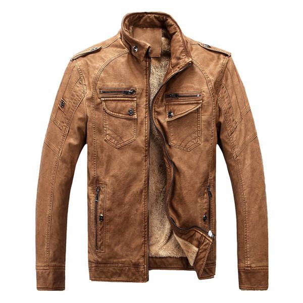 PU Men Bomber Jacket Brand Motorcycle Leather Jacket Men 2018 new Fashion Wool Liner Men's Leather Coat Outerwear