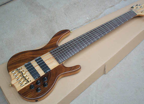2018 Factory Custom 6 Strings Electric Bass Guitar with Neck-through Body,Rosewood Fingerboard,no Frets Inlay,Good Quality