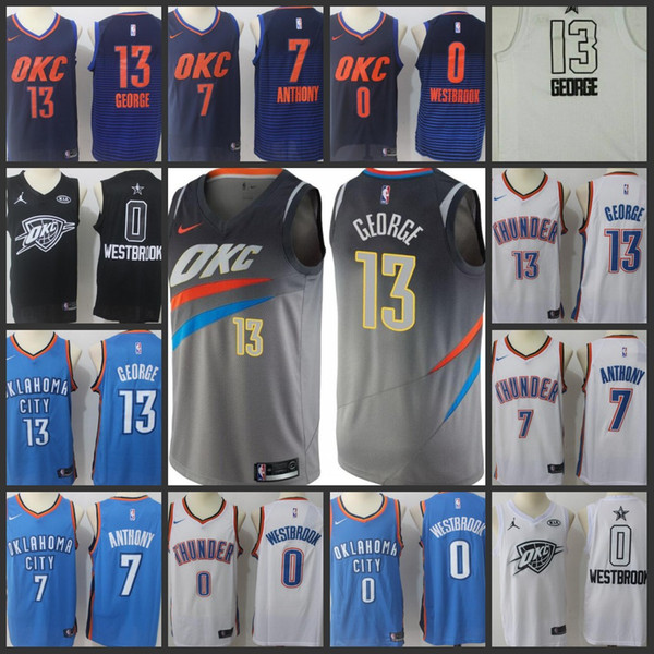 fccd20a4dded NCAA college 2018 Oklahoma City Men Thunder Jersey  13 Paul George 7  Carmelo Anthony 0