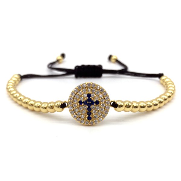 NAIQUBE 2018 Fashion New Men Women Bangle Pave CZ Cross 4mm Round Beads Bracelet Braided Macrame Charm Bracelet Jewelry Gift