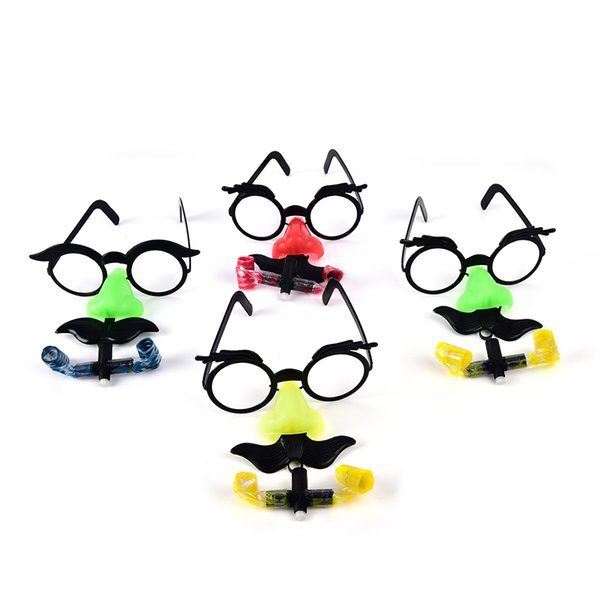 Funny Clown Nose Mustache Glasses Whistle Costume Ball Round Frame False Nose blow out dragon Joke trick toy Party Favors 2PCS