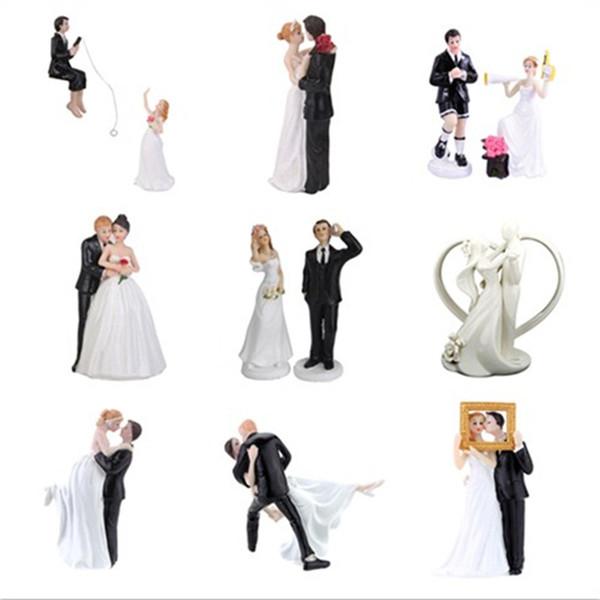 Romântico Noivo Casal Toppers Casamento Casamento Estatueta Engraçado Bolo Topper para Decoração Do Bolo De Casamento