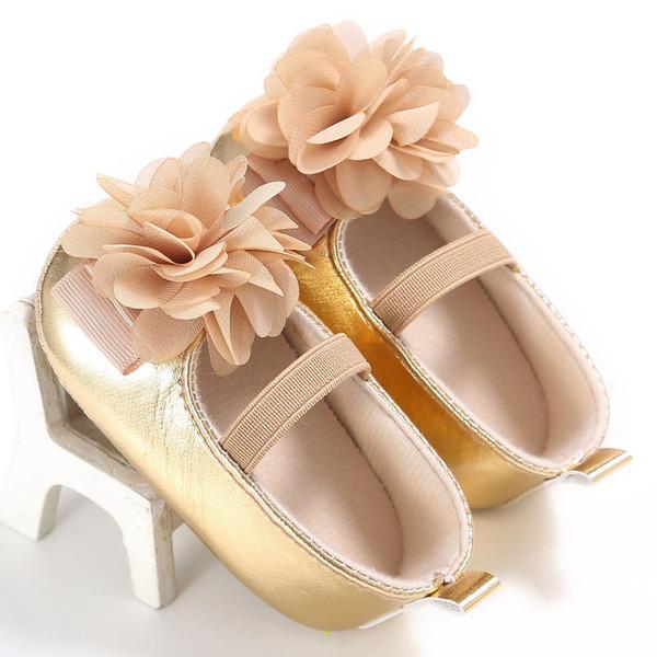 PU Leather New Golden Silver Pink Newborn Baby Kid Prewalkers Shoes Princess Girl Big Flower Mary Jane Anti-slip Soft Soled Shoe
