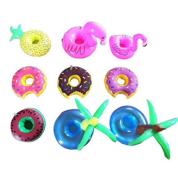 Hot pvc aufblasbare getränkehalter donut flamingo wassermelone ananas zitrone für kokospalme geformt schwimmende matte pool spielzeug top fashion