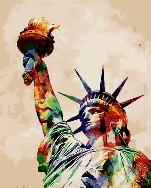 16x20 inches DIY Vintage Color Great Statue of Liberty Paint by numbers Kit Art Paintings Acrylic Oil painting on Canvas