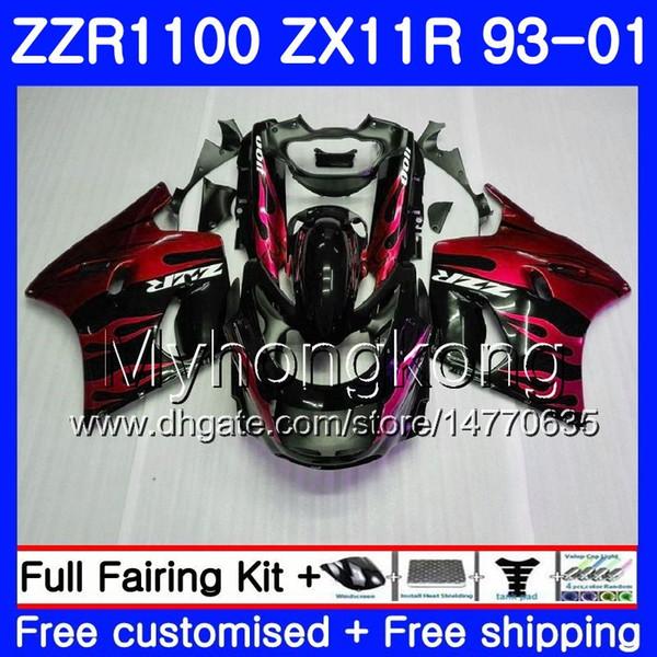Karosserie Für KAWASAKI NINJA ZX 11R ZX11R 93 94 95 96 97 206HM.15 ZZR 1100 ZX11 R ZZR1100 ZX-11R 1993 1994 1996 1996 Verkleidungen Rote Flammen neu