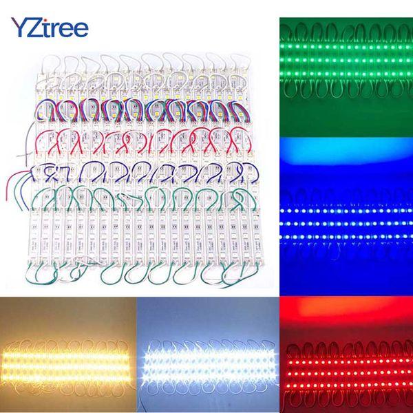 20 UNIDS 3LEDs SMD 5050 Módulos LED Luz DC12V Lámpara de Retroiluminación Impermeable para Cartelera Luz Publicitaria Cálido Blanco Rojo Verde Azul